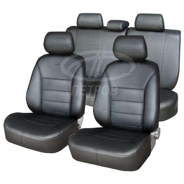 """Авточехлы """"Орегон"""" для Mitsubishi Lancer X (2007-2011), (экокожа) черный изображение 1"""